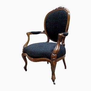 French Armchair with Black Upholstery, 1880s