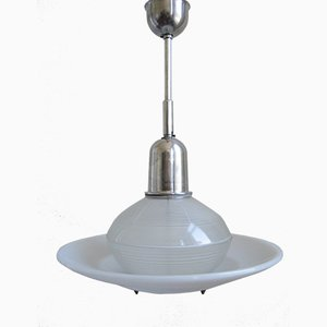 French Industrial Hanging Lamp with Glass Sphere and Disc from Holophane, 1950s