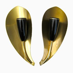 German Mid-Century Leaf Brass Wall Sconces, 1950s, Set of 2