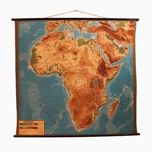 Mapa de África de pared vintage con relieve, años 60