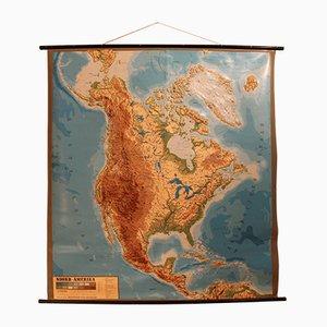 Mapa de norteamérica vintage con relieve