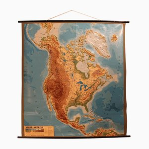 Vintage Relief Map North America