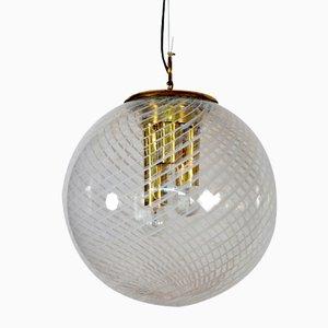 Large Italian Murano Glass Ball Pendant Lamp from Venini, 1960s