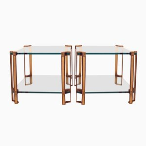Vintage T24D Brass Side Tables by Peter Ghyczy, Set of 2