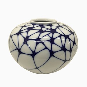 White and Blue Vase by Enzo Mari for KPM, 2003