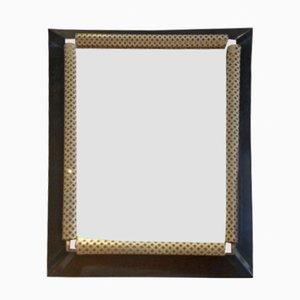 Spiegel mit Perforiertem Metallrahmen in Weiß und Schwarz, 1950er