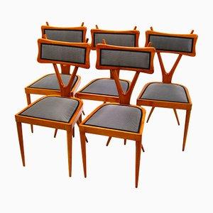 Italienische Buchenholz Esszimmerstühle, 1950er, 5er Set