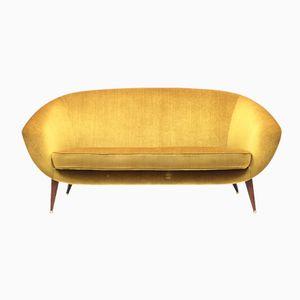 Goldenes Tellus Sofa aus Samt von Folke Jansson für S.M. Wincrantz, 1950er