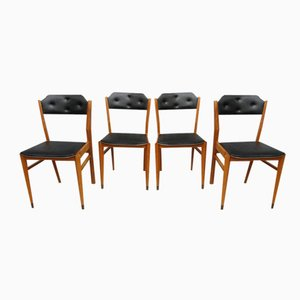 Mid-Century Black Vinyl Dining Chairs, Set of 4