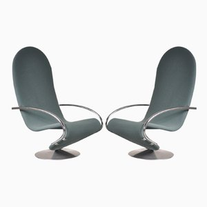 1-2-3 Easy Chairs by Verner Panton for Fritz Hansen, 1970s, Set of 2
