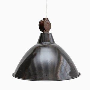Lámpara colgante industrial francesa de metal, años 50