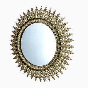Großer Französischer Spiegel mit Messingrahmen in Sonnen Optik