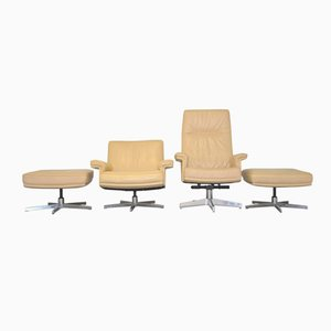 Swiss DS 35 Swivel Lounge Armchairs and Ottomans from de Sede, 1970s, Set of 4