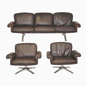 Sofá DS 31 suizo vintage con sillones giratorios de de Sede. Juego de 3