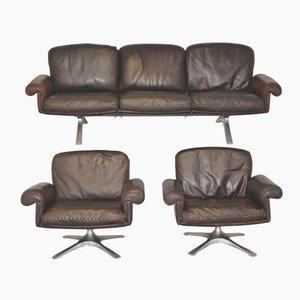 Swiss Vintage DS 31 Swivel Lounge Armchairs and Sofa from de Sede, Set of 3