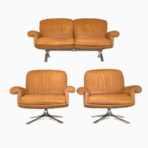 Swiss Vintage DS 31 2 Seater Sofa and Swivel Armchairs from de Sede, Set of 3