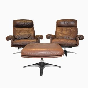 Swiss Vintage DS 31 Swivel Lounge Armchairs and Ottoman from de Sede, 1970s