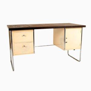 Deutscher Mid-Century Schreibtisch mit Stahlrohrrahmen