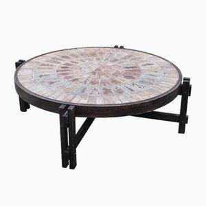 Tavolo rotondo vintage in legno di Roger Capron