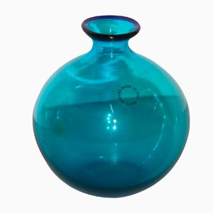 Italian Small Blue Vase from Venini, 1986