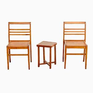 French Oak Chairs and Side Table by Rene Gabriel, 1940s