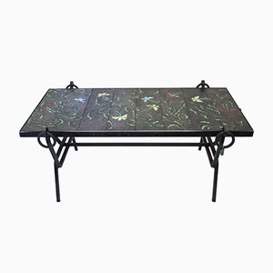 Vintage Ceramic Tiles Coffee Table by Jacques Adnet