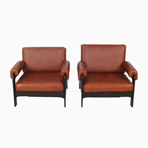 Mid-Century Cognac Leather Armchairs, Set of 2