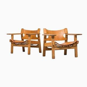 Mid-Century Armlehnstühle von Borge Mogensen, 2er Set