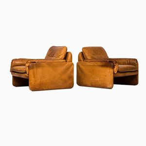 Cognac Brown Leather Easy Chairs from De Sede, Set of 2