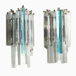 Vintage Murano Glass Wall Sconces from Venini, Set of 2