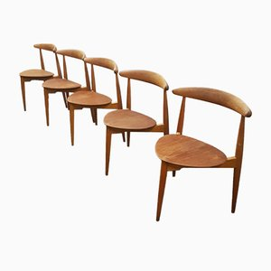 Oak Heart Chairs by Hans J. Wegner for Fritz Hansen, Set of 5