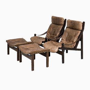 Norwegian Hunter Easy Chairs and Stools by Torbjørn Afdal for Bruksbo, 1960s, Set of 2