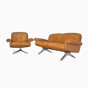 Sofá de dos plazas DS 31 suizo vintage con butacas giratorias de de Sede. Juego de 3