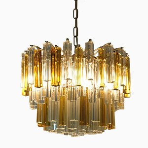 Italian 107 Murano Glass Prism Chandelier from Venini, 1970s