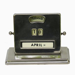 Verchromter ewiger Art Deco Kalender von Jakob Maul