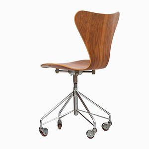 Chaise de Bureau 3117 en Teck par Arne Jacobsen pour Fritz Hansen, 1966