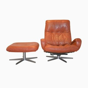 Swiss S 231 Swivel Lounge Armchair with Ottoman from de Sede, 1960s
