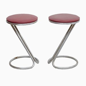Tubular Steel Stools from DS Stålrörsmöbler, 1940s, Set of 2