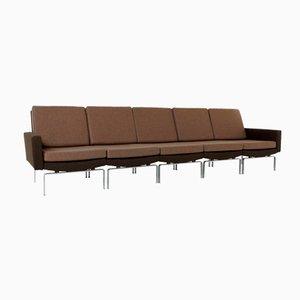 Sofá modular de cinco plazas marrón con base de acero cromado, 1972