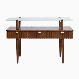 Table Console Mid-Century en Laiton, en Verre et en Bouleau, Suède