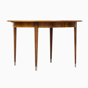 Tavolo da pranzo in palissandro e acciaio di Agner Christoffersen per N.C. Christoffersen, 1948