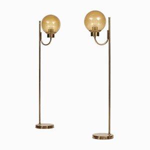 Stehlampen aus Messing & Glas von Bergboms, 2er Set
