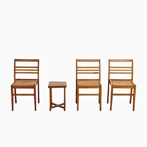 Mesa auxiliar y sillas francesas de Rene Gabriel, años 40. Juego de 4