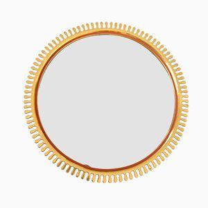 Espejo sueco en forma de sol de latón, años 50