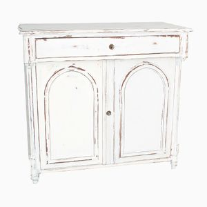 Antique White Wooden Commode, 1880s