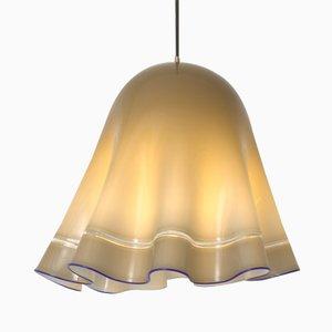 Lámpara colgante vintage de cristal de Murano gris y azul