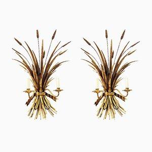 Apliques vintage con forma de trigo dorados de Hans Kögl. Juego de 2