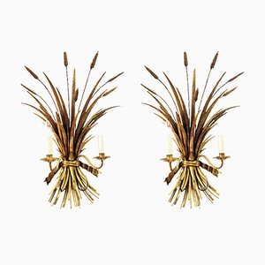 Vintage Gold Wheat Sconces by Hans Kögl, Set of 2