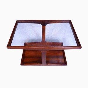 Carrito de té danés de palisandro con superficie de vidrio