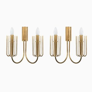 Italian Mid-Century Brass Wall Lamps, Set of 2